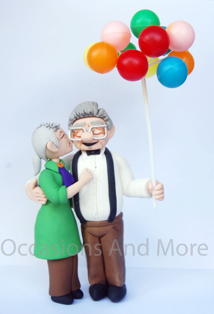 UP Older Carl and Ellie Balloons Wedding or Anniversary Cake Toppers. $130.00, via Etsy.