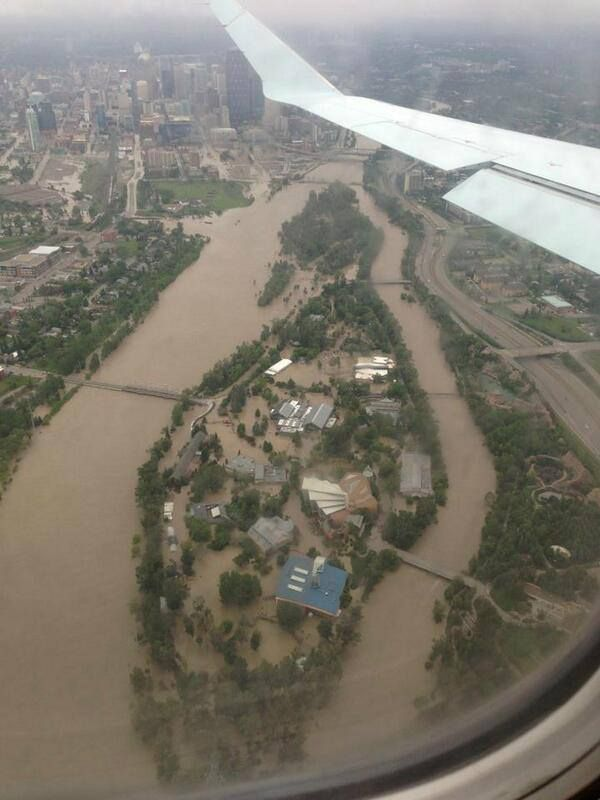 This is a current picture of the Calgary Zoo with all the flooding we are having right now :,(