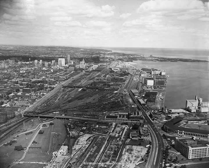 An aerial view of Toronto, looking east, 1951 (pre-CN Tower)