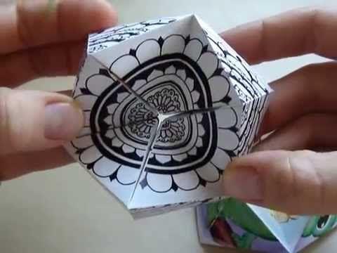 Hattifant's Kaleidocycles - video og skabelon (med foldevejledning) til at printe ud og farvelægge