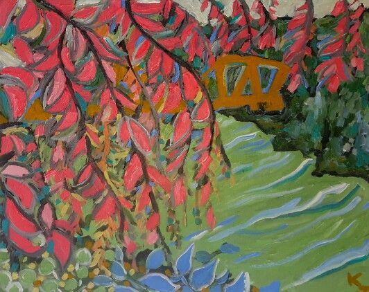 painted in 1 sitting outside under the weeping willows along the Seine... acrylic on canvas, painted by me Katie Jurkiewicz