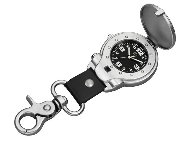 Fob watch Unisex B67870518 Matt silver/black fob watch. Diecast metal and imitation leather. Diecast metal case. Sprung lid. Snap hook. Black dial. Brand-name movement. Bezel with stud design. Stainless steel crown. Star logo on sprung lid and dial. Diameter of case: approx. 4.5 cm. Height 15 mm. Water-resistant to 3 ATM. Length of snap hook: approx. 4.5 cm.