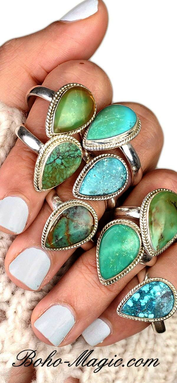 Chrysocolla Sleeping Beauty Turquoise Natural Gemstone 925 Solid Sterling Silver Statement Jewelry Adjustable Ring