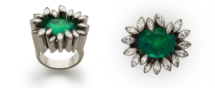 Grima ring with a 6.70ct. Colombian Emerald set in 18K grey gold and surrounded by marquise-cut diamonds