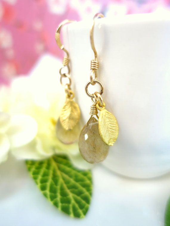 Golden rutilated quartz pear drop earrings gold by KBlossoms