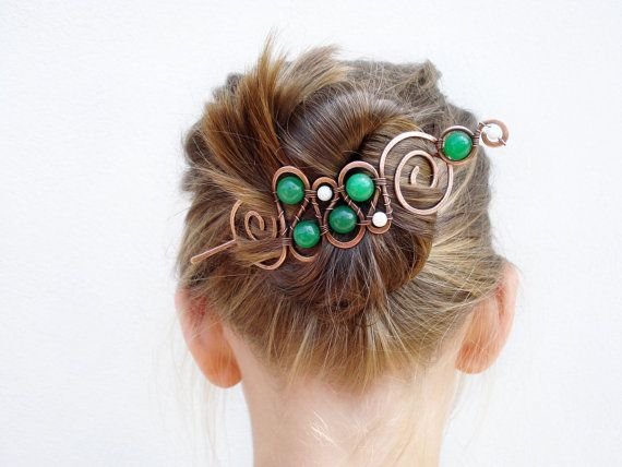 Wire wrap hair clips copper shawl pin hair by MargoHandmadeJewelry