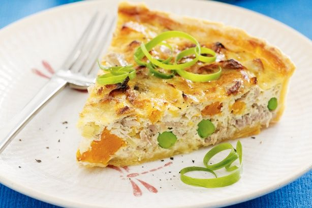 This tuna quiche, which is packed full of vegetables, can be served warm or at room temperature.