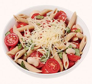 Pasta Recipe under 500 Calories-  3/4 cup whole wheat penne   1/4 cup canned white beans, rinsed and drained   1 1/2 cups cherry tomatoes, halved   1 tablespoon olive oil   1/2 cup fresh basil, chopped   1 garlic clove, minced   2 tablespoons grated Parmesan cheese