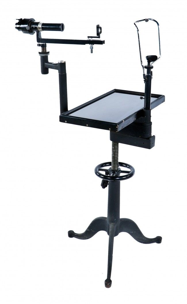 American Vintage Medical B U0026 L Ophthalmic Testing Device Workstation With  Cabriole Style Three Legged Adjustable Height Table