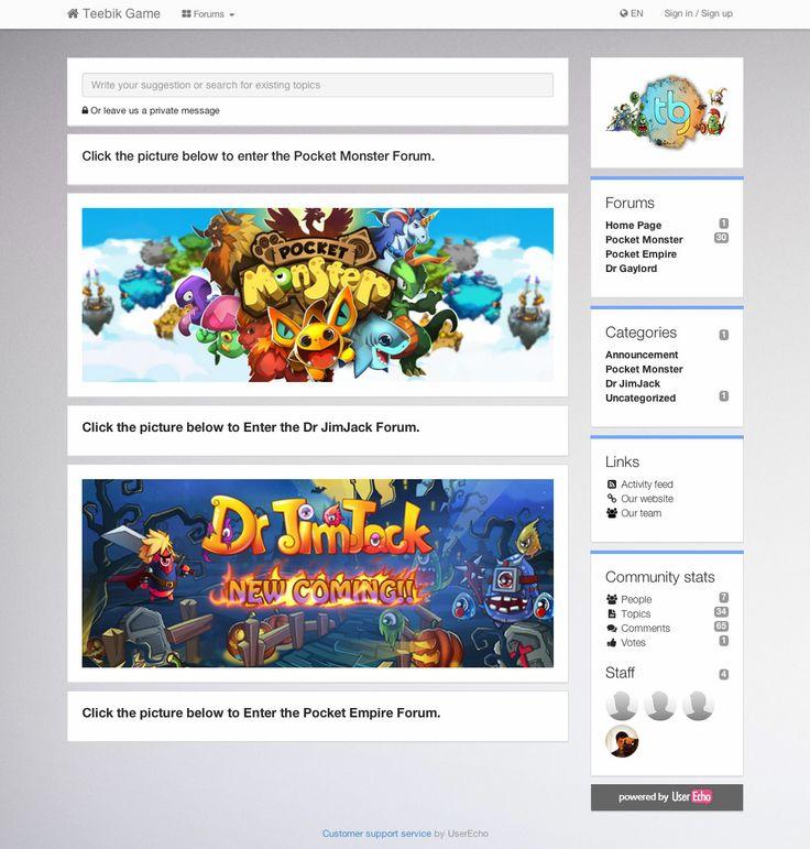Teebik Community on UserEcho, game development company.