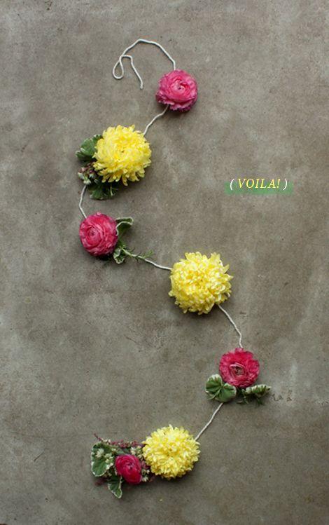 15 minute diy flower garland from Oh Joy!