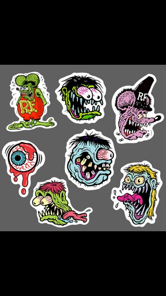 Reproductions of vintage Rat Fink designed decals