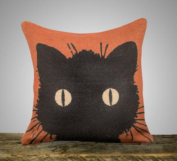 Black Cat Pillow Cover, Halloween Decoration, Orange Burlap Throw Pillow, Decorative Pillow, Fall, Cottage Chic, Rustic, Farmhouse 16x16 on Etsy, $46.00