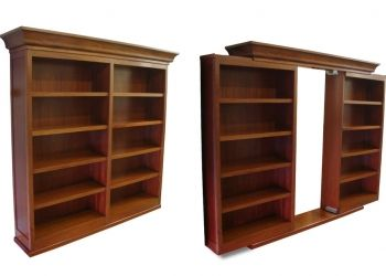 We plan on doing this to separate the kids' playroom from our family room. Sliding bookshelf doors!