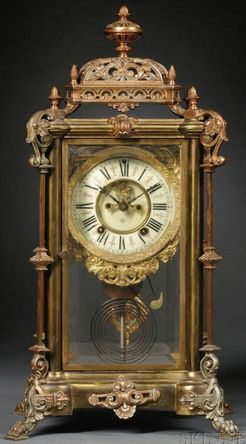 Mantel Clock; Ansonia, Excelsior, Crystal Regulator, Brass, 8 Day, 20 inch.