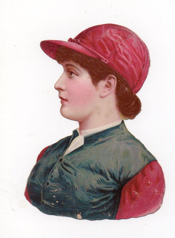 Chromo découpi victorian die cut oblaten glanzbild scrap Femme jockey