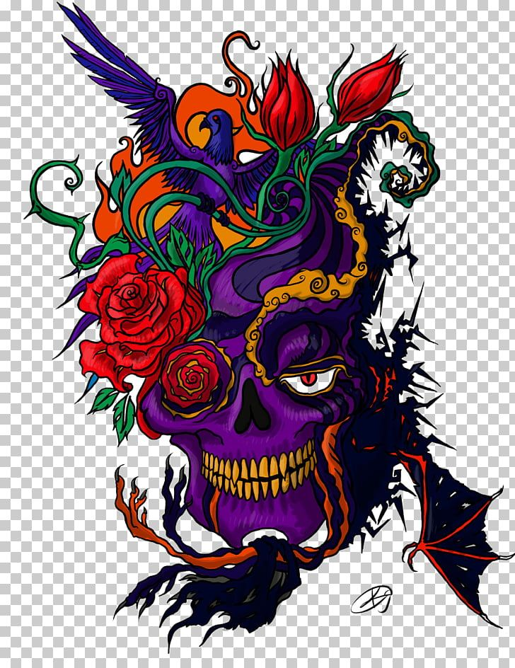 Tattoo Color Color Tattoo Purple Skull With Red Flowers Illustration Png Clipart Free Cliparts Uihe Old School Tattoo Designs Color Tattoo Tattoo Images