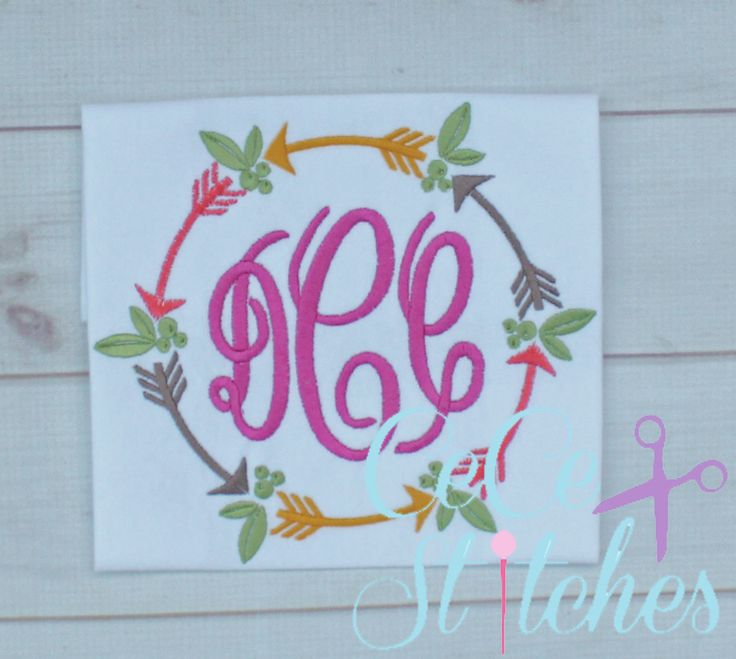 Tribal Circle Monogram Embroidery Design - pinned by pin4etsy.com