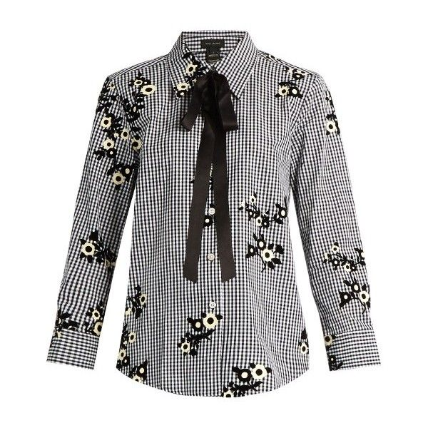 Marc Jacobs Floral-flocked gingham blouse ($365) ❤ liked on Polyvore featuring tops, blouses, black yellow, flower print blouse, floral print blouse, yellow necktie, floral blouse and tie neck blouse