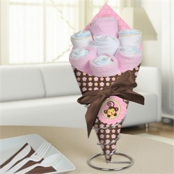 This makes an awesome centerpiece on your baby shower tables.  You can also use to display next to the cake! Monkey Girl - Baby Shower Diaper Bouquet.    Go to: http://www.modern-baby-shower-ideas.com/Monkey-girl-baby-shower.html and use coupon code: Modern11 to save 11%