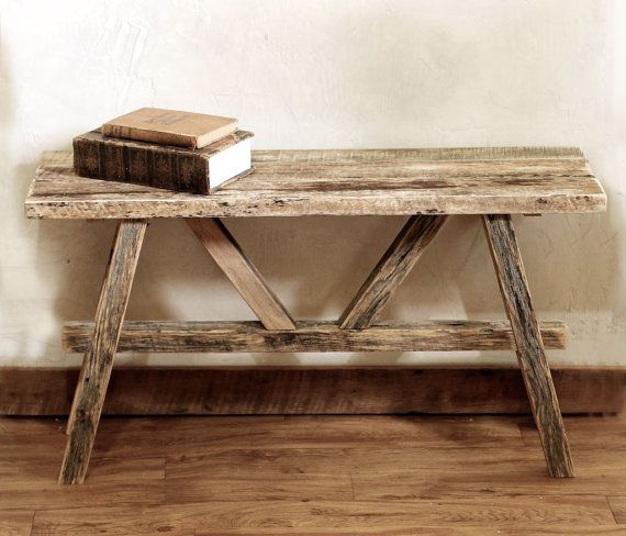 Scandinavian bench – Reclaimed wood bench – Rustic barn wood furniture – Upcycled entry way seat – Mudroom seat – Indoor outdoor furniture
