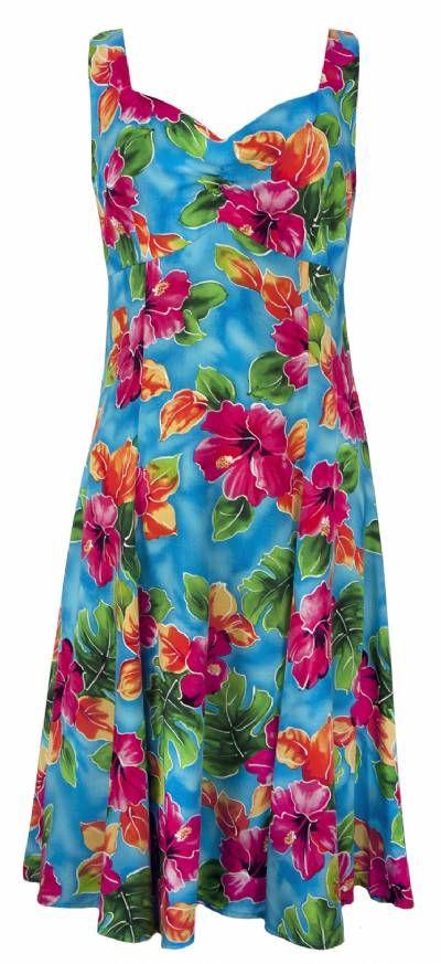 Hawaiian Watercolors - Tropical Hawaiian Print Sun Dress - Blue, Sun Dress - Tropical Hawaiian Dresses, 804R-Hawaiian-WC-Blue - Paradise Clothing Company