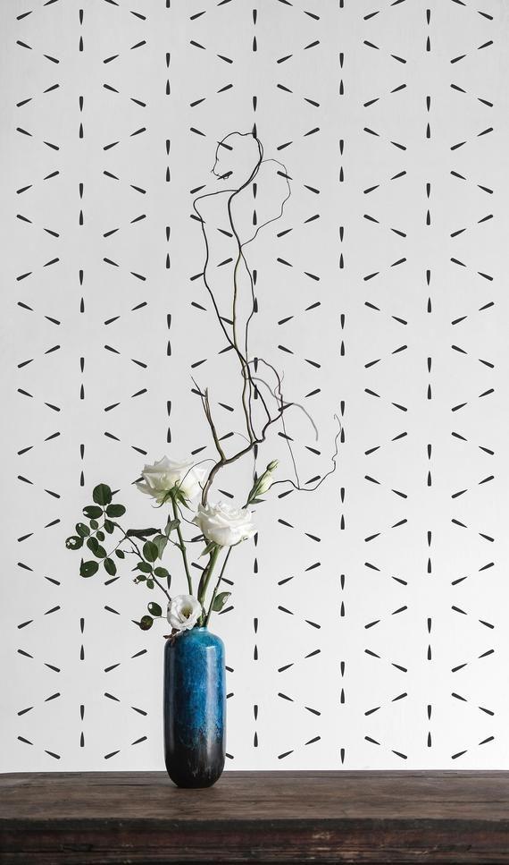 Black And White Line Self Adhesive Wallpaper Geometric Etsy Self Adhesive Wallpaper White Pattern Wallpaper Peel And Stick Wallpaper