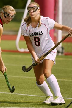 DEFENSIVE ACTION: Hun School field hockey star Alex Kane leads the defense in a game last season. Senior back Kane will be a key player for ...