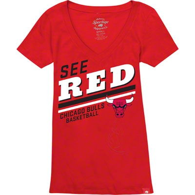 Chicago Bulls Women's Vintage V-Neck See Red T-Shirt $24.99 #SeeRed