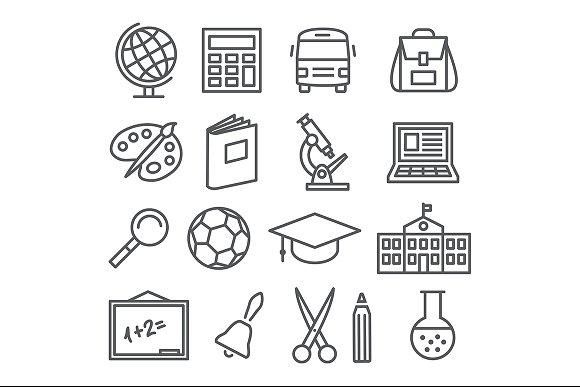 School And Education Line Icons Reglisse Images Patte