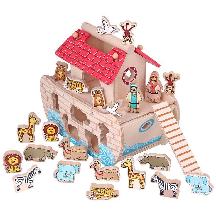 Noé bárkája fa formaberakós játék 22 db figurával | Pandatanoda.hu Játék…