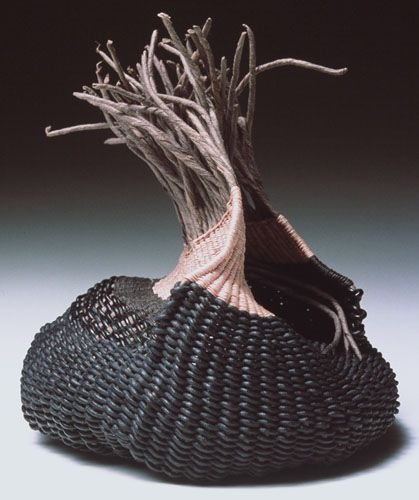 Charlotte Thorp, Contemporary Baskets. Hand-spun paper spokes, waxed linen thread, leather cord