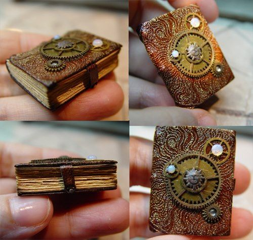 I love miniature books. Steampunked books are a new twist on an old idea. [Steampunk books by EV Miniatures]