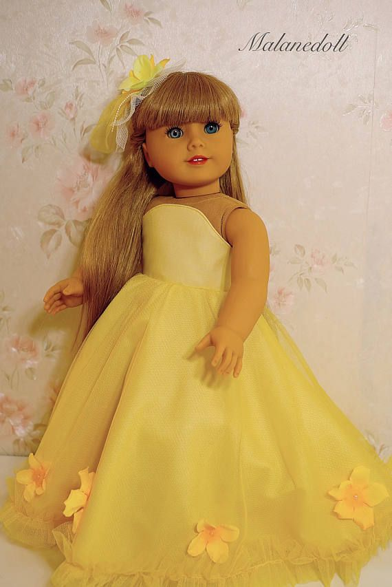 flower princess dress yellow with hairpin fits American Girl