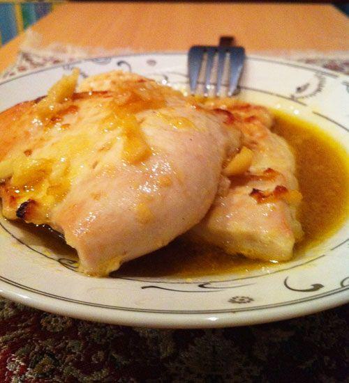 Запеченная в духовкe курица с медом