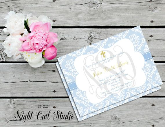 Baptism Invitation-Boy Religious-First by NightOwlStudioDesign