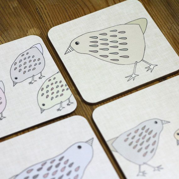 Hen Coasters set of four by lil3birdy on Etsy, £12.50