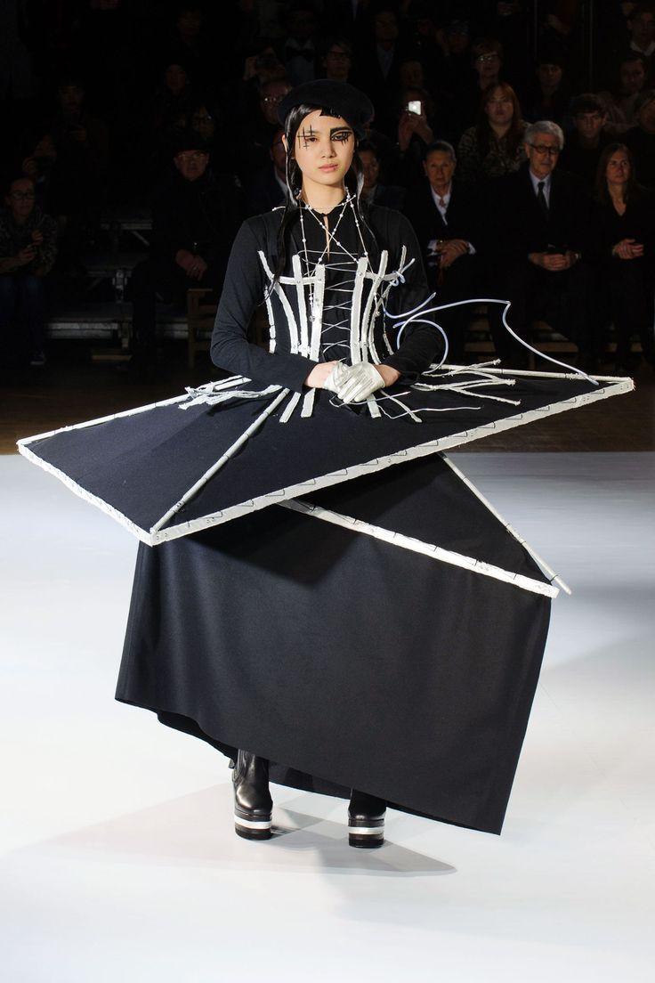 Conceptual Fashion - dress inspired by buildings under construction; sculptural fashion // Yohji Yamamoto Fall 2015