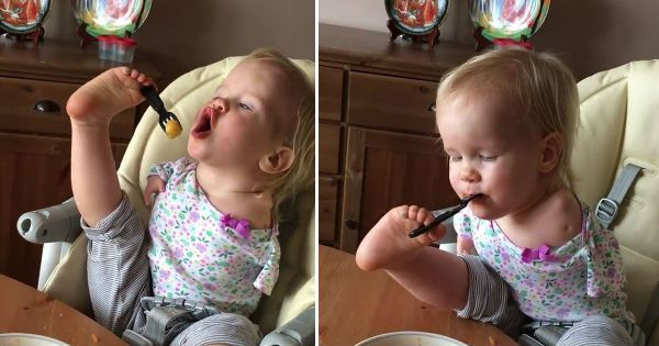 Child Born Without Arms Learnt To Feed Herself Using Just Her Feet