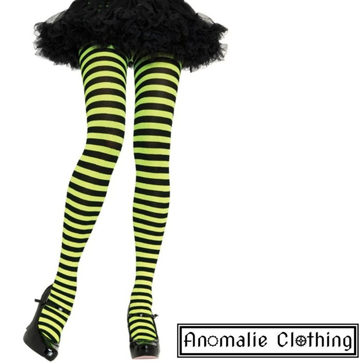 Lime Green & Black Striped Tights
