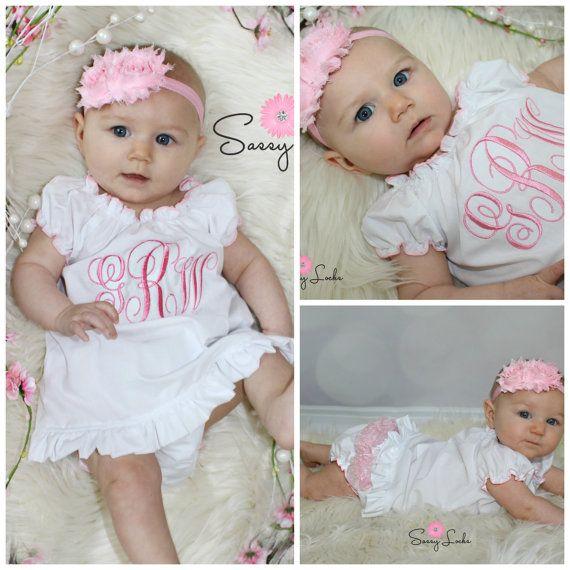 Monogram Girl Dress Newborn Baby Girl Clothes by sassylocks
