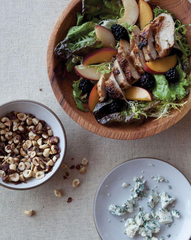 Oregon summer grilled chicken salad by Bon Appetit: Summer Grilled, Blue Chee, Chicken Salads, Grilled Chicken Salad, Oregon Summer, Bon Appetit, Summer Salad, Blackberries, Chicken Salad Recipes