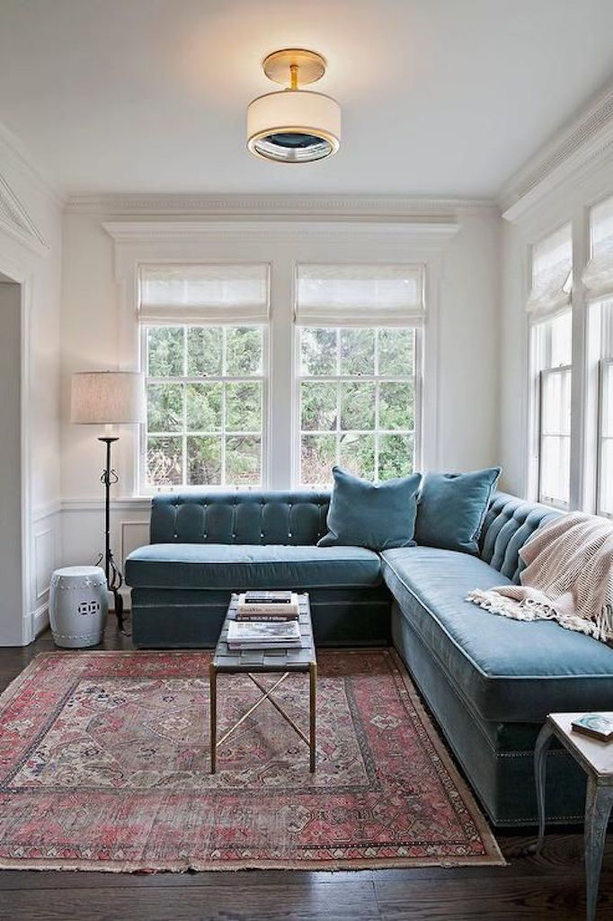 BECKI OWENS Blues Are An Enduring Trend That We Will Definitely See More Of In Blue Velvet CouchBlue CouchesSectional