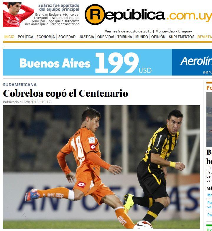 Cobreloa copó el Centenario. Diario República de Uruguay. http://www.republica.com.uy/va-por-la-clasificacion/