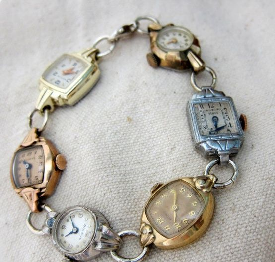 Did you enjoy an extra hour of sleep this weekend? Did you remember to turn back all clocks?! Pictured: Vintage watches upcycled into a bracelet. Spotted on Pinterest here. Source: mLindvall on Etsy here.