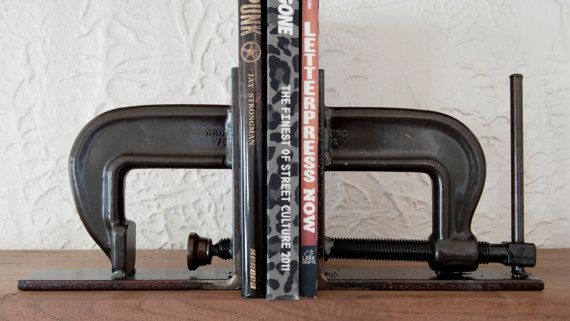 "Bookends, 7x7x2"" C Clamp bookends, book shelf, home, perfect home decor piece, Clear powder coat finish"