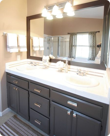 Paint color on the vanity: That rich espresso color is Valspar's latex 'Betsy Ross House Brown' #6011-2 in the soft gloss Kitchen  Bath formula.
