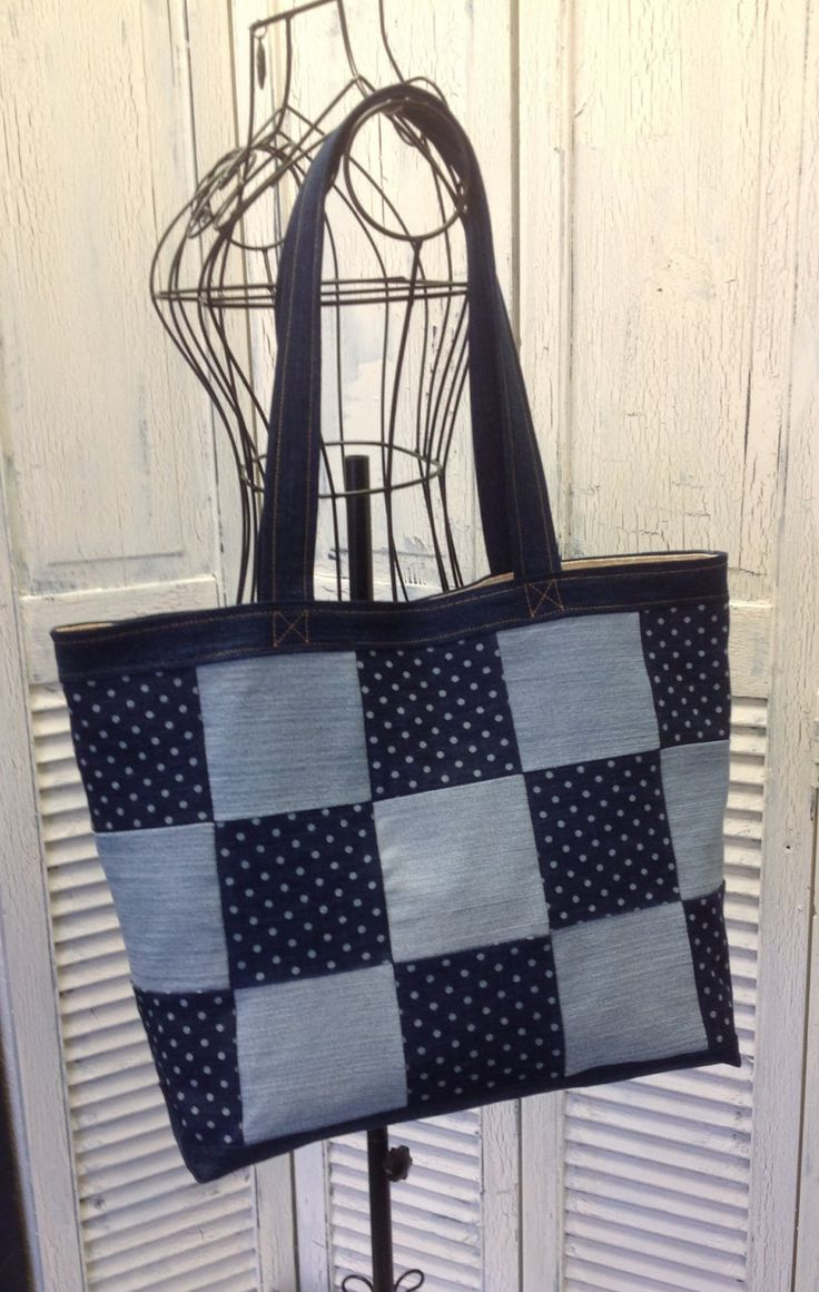 Bleu Redux Upcycle Big Check Polka Dot Denim Tote by GrandmaRietas on Etsy
