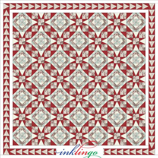 """Inklingo """"Celtic Solstice"""" Mystery Quilt. Series of 6 clues and suplements developed by Bonnie Hunter. Tennessee Waltz with its traditional 54-40 block."""