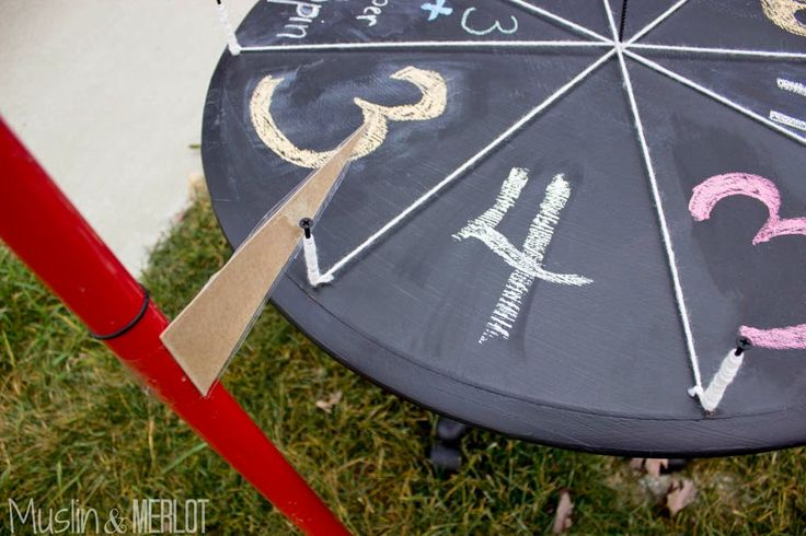 Make a spinning wheel-of-fortune candy wheel for trick-or-treaters! Also great as a mini carnival game :-).